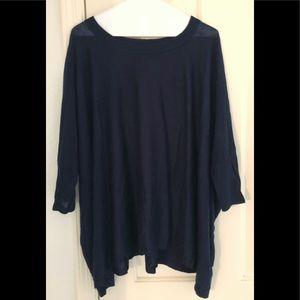 H&M Dark Navy Blue Dolman Sleeve Swing Sweater